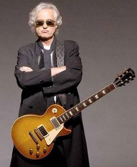 Jimmy Page e o modelo'Gibson Les Paul'.