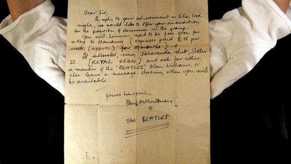 Carta de McCartney oferecia teste para baterista misterioso