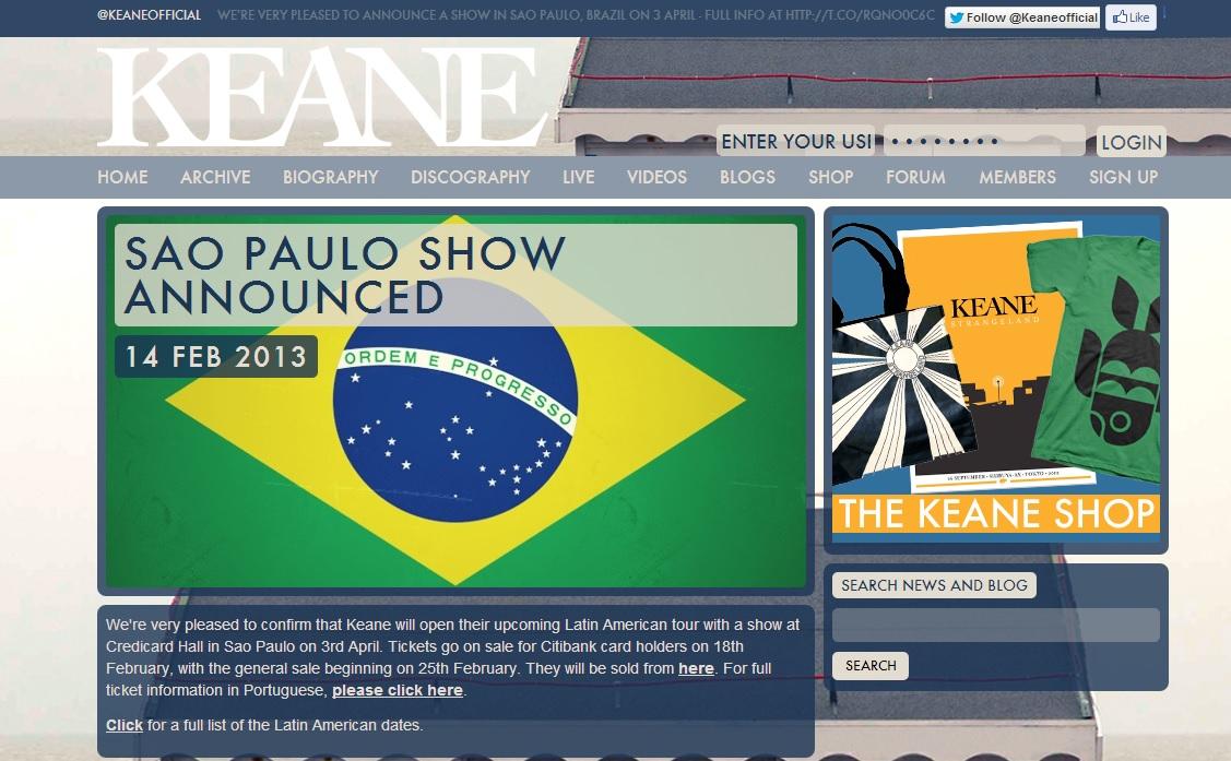 Keane se apresentará em São Paulo no dia 3 de abril