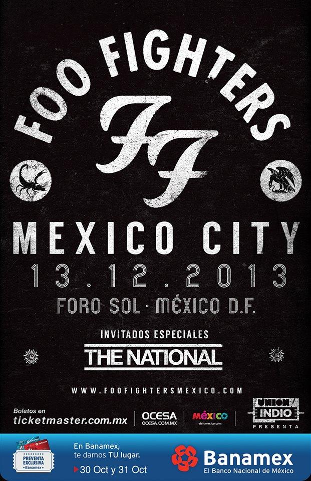 Foo Fighters: cartaz de divulgação de show no México (Foto: Divulgação)