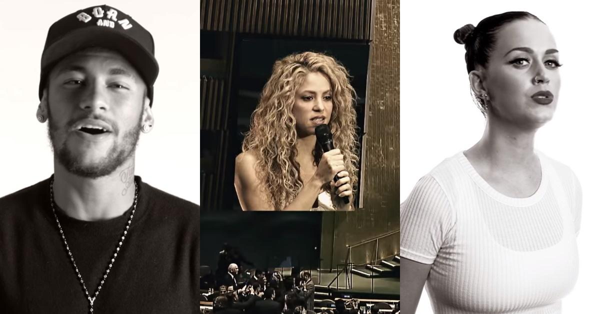 """Neymar canta """"Imagine"""" ao lado de Katy Perry e Shakira"""