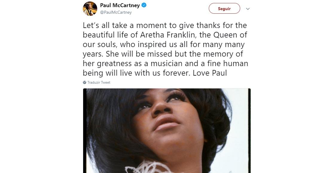 Acompanhe a repercussão da morte de Aretha Franklin nas redes sociais