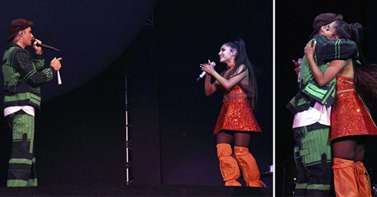 Afastado dos palcos, Justin Bieber faz participação surpresa em show de Ariana Grande