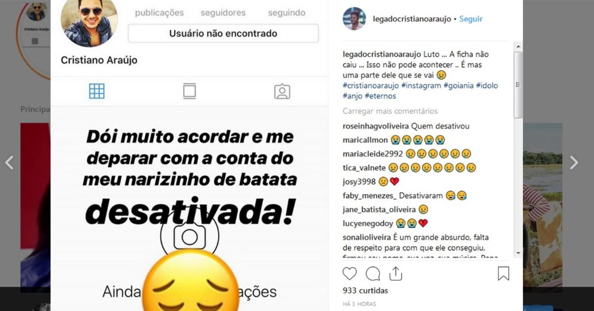Instagram deleta conta de Cristiano Araújo, fãs lamentam e exigem de volta