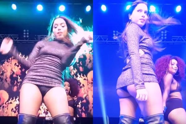 Peça de roupa da cantora subiu demais durante apresentação (Reprodução/YouTube)