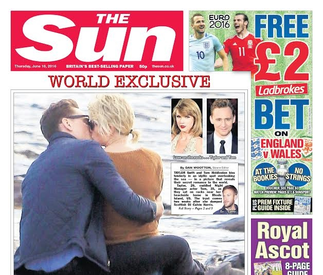 Capa do tabloide The Sun, com a foto do novo casal (Reprodução/Twitter)