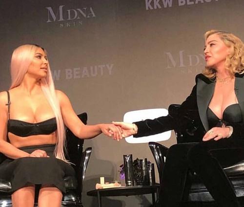 Madonna ministra palestra sobre beleza com Kim Kardashian