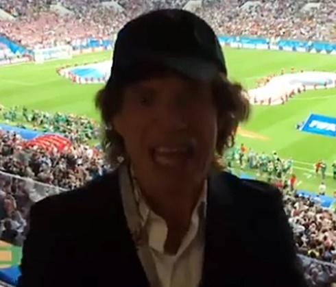 Britânico, vocalista dos Rolling Stones foi ao estádio para ver o jogo (Reprod.)